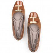 Ballet Flats with Golden Ornament on the Heel and Ribbon Ties Ornament