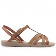 Flat Sandals with Braided Straps and Hotfix