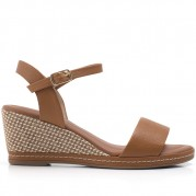 Wedge Sandals with Straw Texture on the Heel