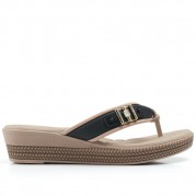 Embellished Wedge Flip-flops with Bicolor Straps