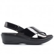 Wedge Sandals with Elastic on the Side and Velcro