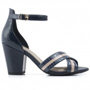 High-heeled Sandals with Bicolor Straps