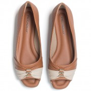 Peep toe Ballet flats with Ornament