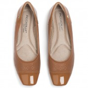 Ballet flats with Cut-out effect and Golden Ornament on the Heel