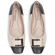 Ballet flats with Golden Ornament on the Heel and Strass Ornament