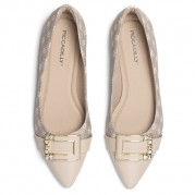 Embellished Ballet flats with Golden Ornament on the Heel