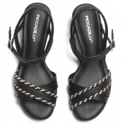 Sandals with Ornament on the Heel and Braided Detail