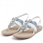 Flat Sandals with Straps and Pearl Ornament