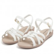 Flat Sandals with Braided Straps and Knot Ornament