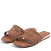 Flat Sandals with Woven Fabric and Golden Ornament on the Heel