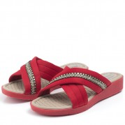 Wedge Flip-flops with Straps and Straw Texture