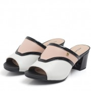 Tricolor Mid-Heeled Clog