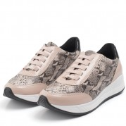 Embellished Wedge Sneakers with elastic shoelaces