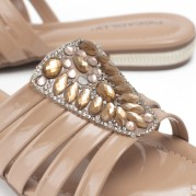 Embellished Clog with Golden Ornament on the Heel