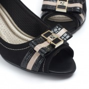 Mid-heeled Peep Toe with Ribbon Ties Ornament